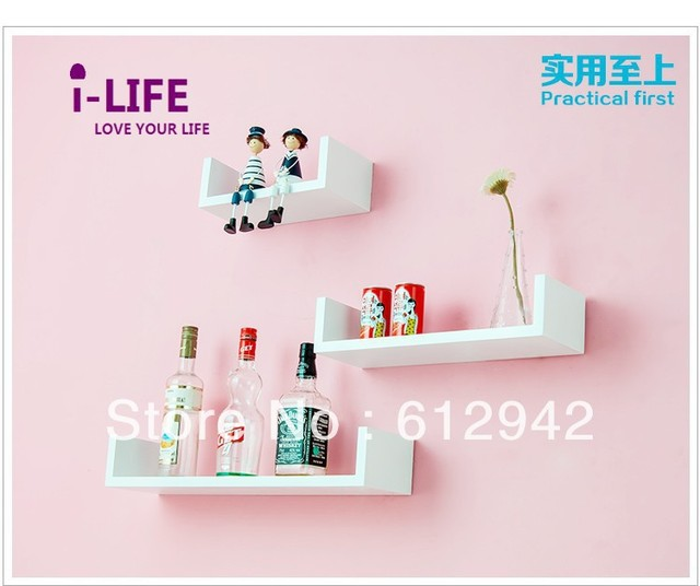 Only Wholesales 100PCS U shaped MDF floating wall shelves/shelf wall mount by ocean shipping