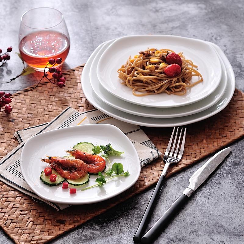 Western Salad Dishes: 2PCS Ceramic Western Style Food Dish Beefsteak Plates