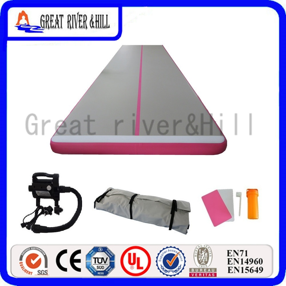 Great river hill sports equipment inflatale training mat waterproof pink 9m x 1.8m x 15cm