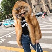 2018 red fox Меховые пальто, теплые куртки, роскошные женщины, полный кожаная куртка, короткие hat.