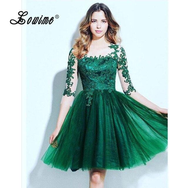 89d425213 Emerald Green 3/4 Sleeve Lace Homecoming Dresses Junior High Graduation  Short Prom Dress Vestidos Curto De Festa 2017 Party Gown