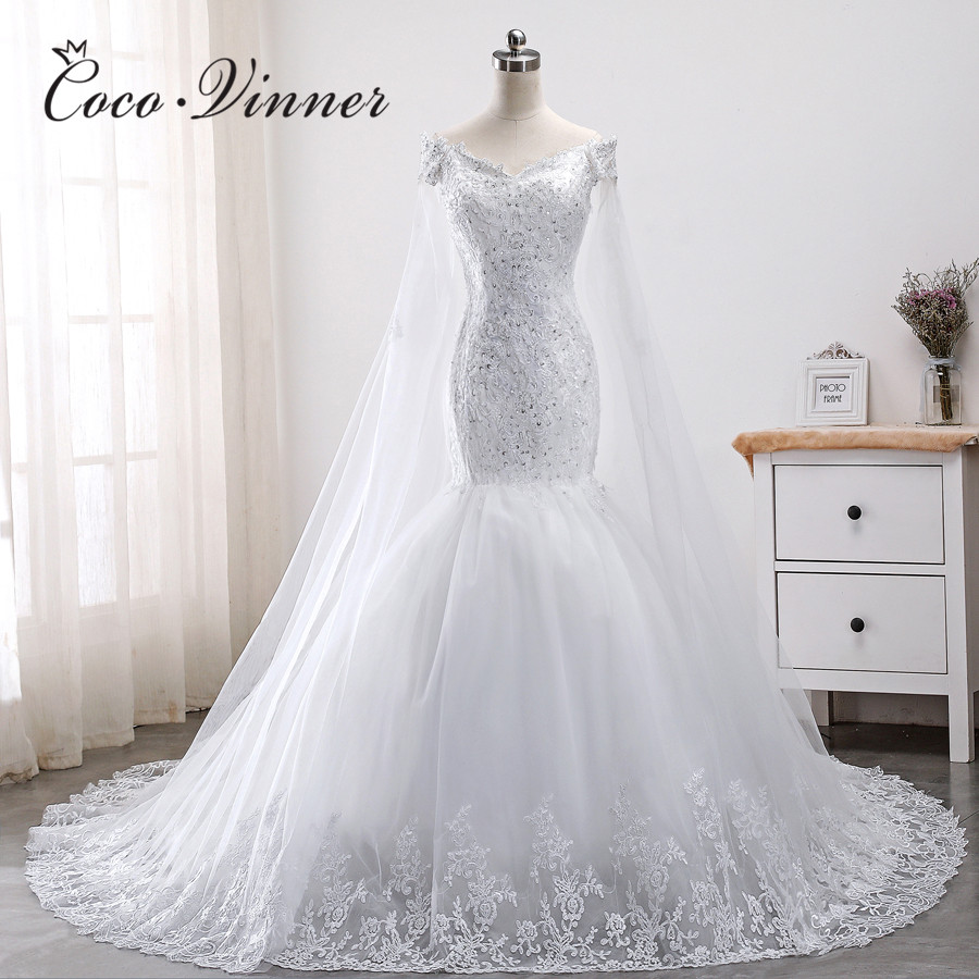 Wrap Cap Sleeves Lace Mermaid Wedding Dress 2019 African New Court Train Plus Size Wedding Gowns Appliques Robe De Mariee WX0011