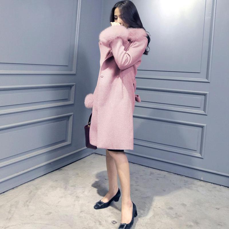 Fourrure Size Automne Laine Pink Manteau Trench Ceinture Renard Simple Robe Long Revers gray De Femmes Femelle Outwear Mélange Hiver Poche Manteaux Slim Plus camel Chaud vFwqfxYq6