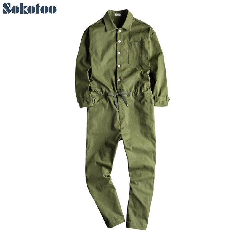 Sokotoo Hommes de lâche à manches longues combinaisons décontracté noir vert armée salopette pantalon