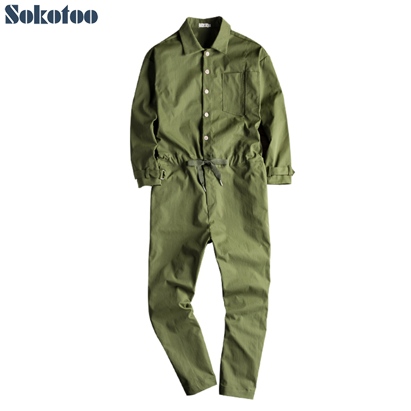 Sokotoo Men's Loose Long Sleeve Jumpsuits Casual Black Army Green Overalls Pants