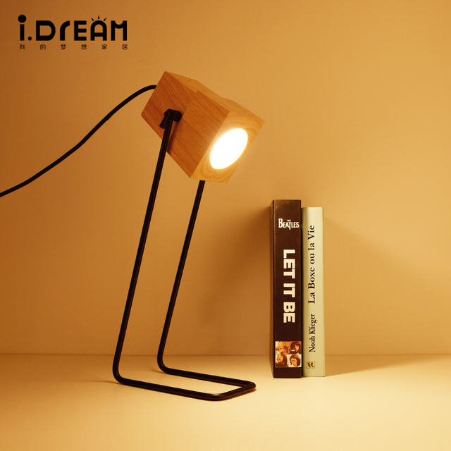 IDERAN Tischlampen Eisen Holz Lam Rahmen Einfache Marke Antike Wohnzimmer Kinder Studie Retro Schreibtisch Fashioncreative Tischlampe
