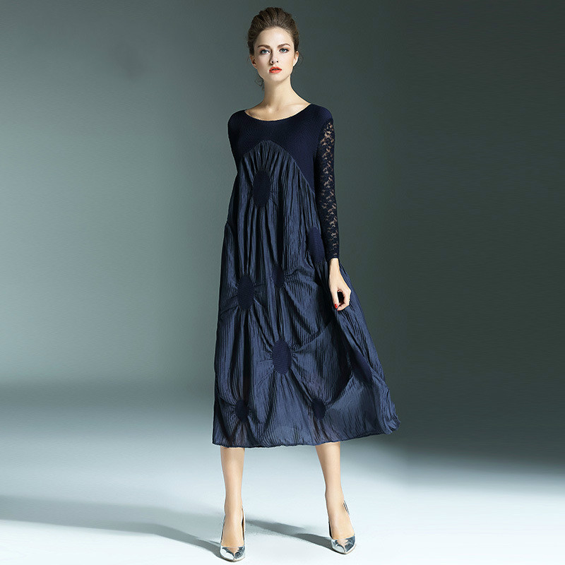 spliced long sleeve issey miyake pleats plus size dress sexy woman fashion dresschina