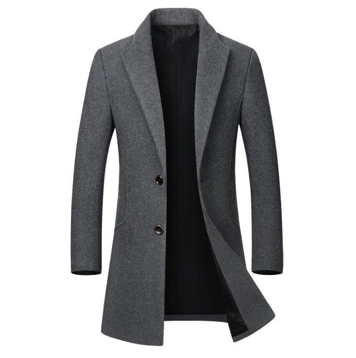 Loldeal Men Lapel Woolen Long Sleeve Windbreaker Mid Length Parka Outwear Woolen coat