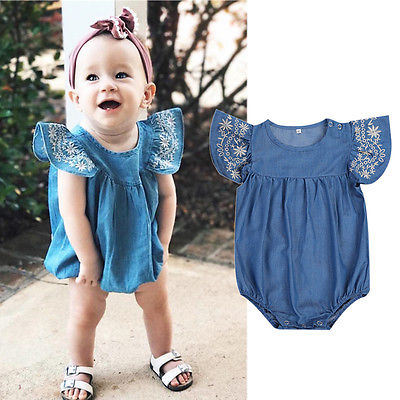 d1408298f Summer Denim Romper 2017 Newborn Baby Girl Romper Ruffled Sleeve Jumpsuit  Playsuit Outfits Sunsuit Clothes Set-in Rompers from Mother & Kids on ...