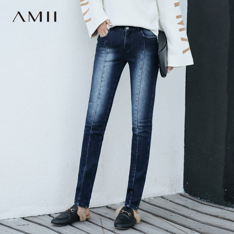 Amii Minimalist Chic Denim   Jeans   2018 Winter New Chic Office Lady Blue Bleach Wash Whitewashed Skinny   Jeans