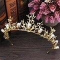 Oro barroco perla rhinestone coronas de novia hechos a mano de cristal tiara diadema diadema corona de la reina de la boda de la boda accesorios para el cabello