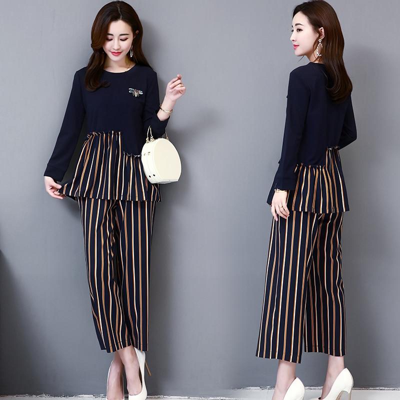 M-5xl Dark Blue Autumn Striped Patchwork Two Piece Sets Women Plus Size Long Sleeve Tops And Wide Leg Pants Office Elegant Suits 26