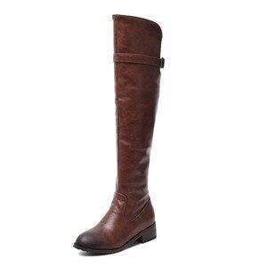 Image 5 - Morazora 2020 Hot Koop Over De Knie Laarzen Vrouwen Pu Retro Zip Herfst Winter Laarzen Lage Hakken Casual Schoenen Vrouw dij Hoge Laarzen
