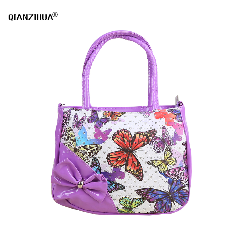 Kids Children Small Handbags PU Butterfly Printing Girls Shoulder Bags Clutch Messenger Bag Women tote handbag girl party bag girls mini messenger bag cute plush cartoon kids baby small coin purses lovely baby children handbags kids shoulder bags bolsa