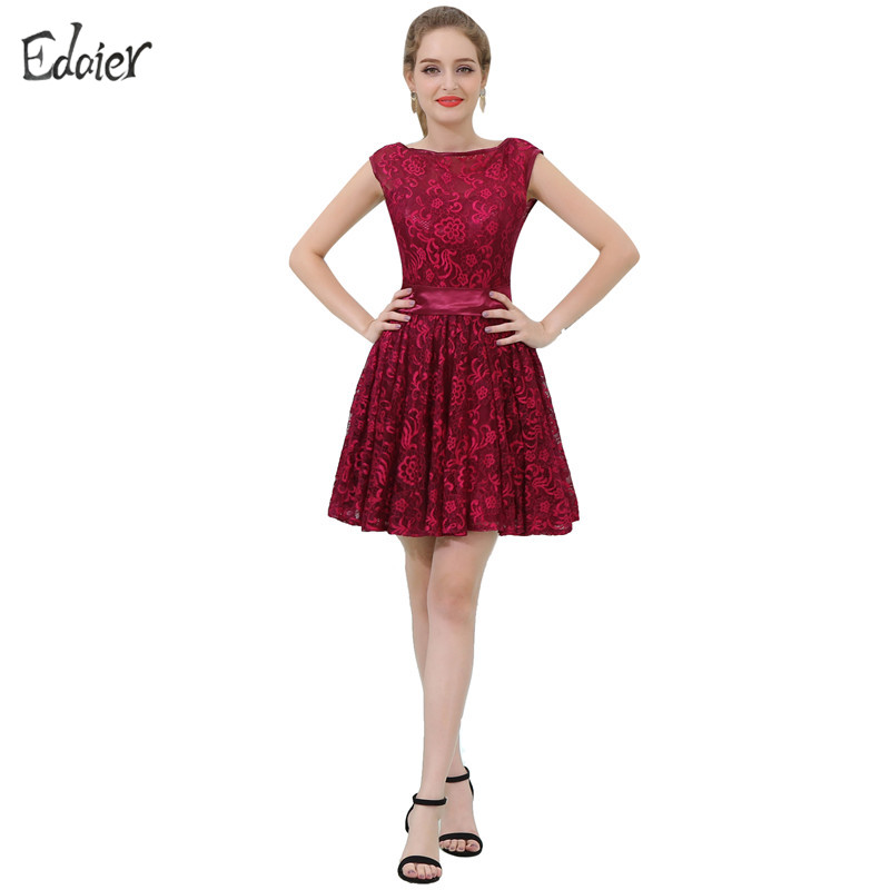 Burgundy Lace Cocktail Dresses 2017