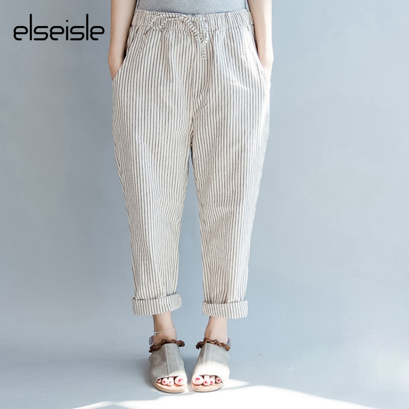 elseisle Black White Striped pants women 2017 Summer linen ...