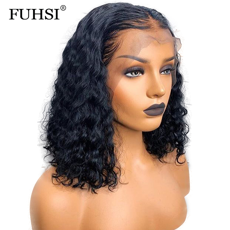 FUHSI 130 Density Brazilian 13x6 Lace Front Human Hair Wig Pre Plucked Glueless Curly Short Human
