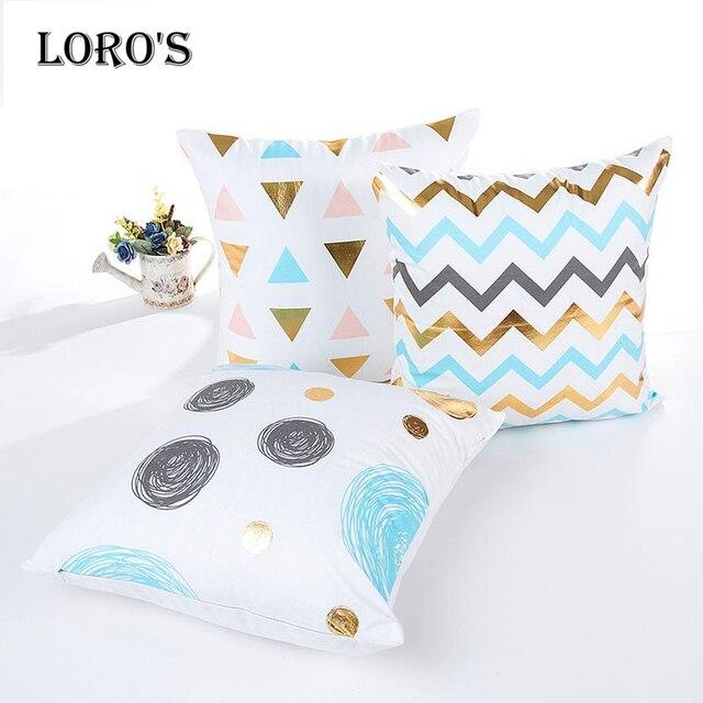 Simple geométrica almohada cubierta suave Terciopelo Azul punto de ...