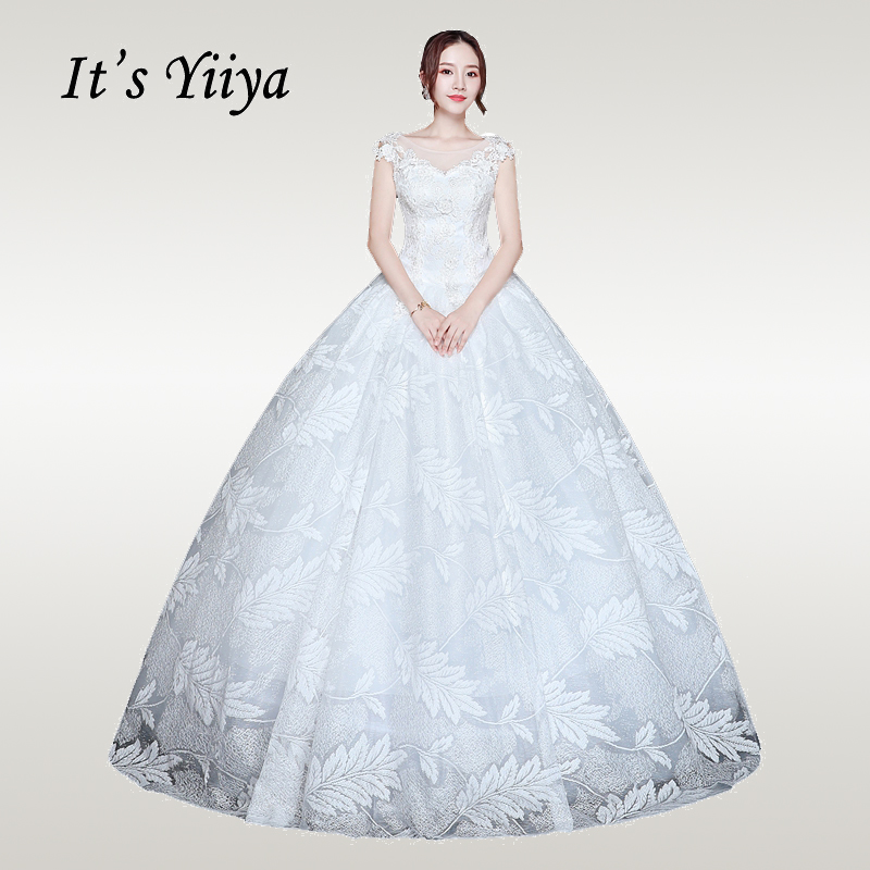 It's YiiYa Wedding Dress 2019 V-neck Sleeveless White Long Wedding Gowns Elegant Plus Size Vestido De Novia Free Shipping XXN226