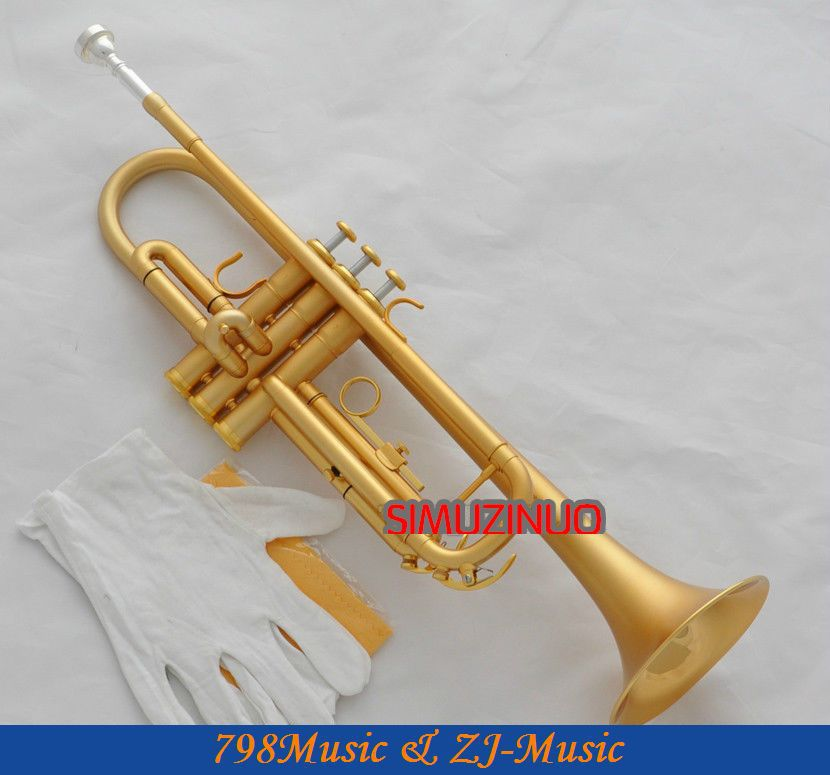 High Grade Satin Gold Plated Trumpet Horn Bb Keys Monel Valve With Case