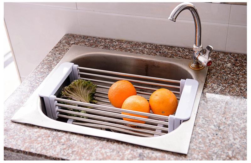 Adjustable Over The Sink Colander Dry Rack Pro Kitchen Sink Dish Drainer  Rack Collapsible Over Sink Dish Drainer Color Option