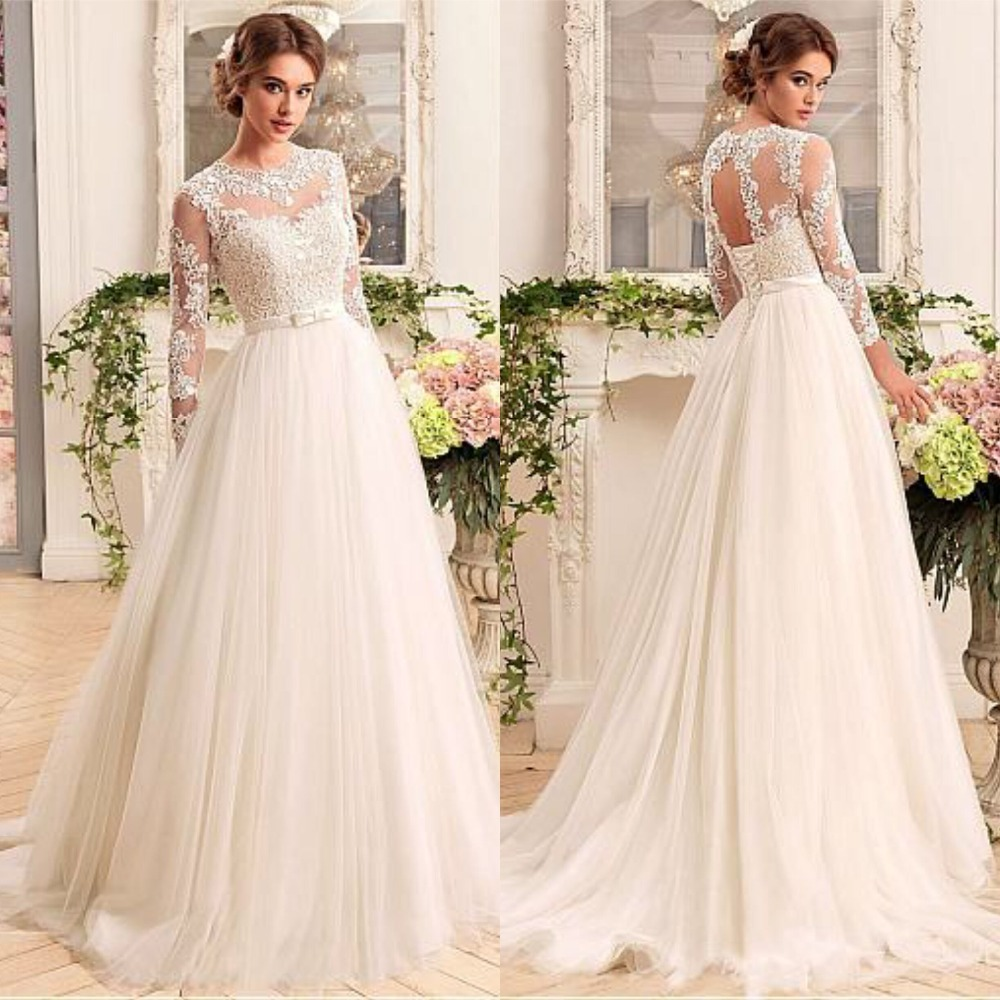 Charming Long Sleeve O Neck Cheap Wedding Dresses Tulle Gowns Illusion Designer with Lace up Bridal