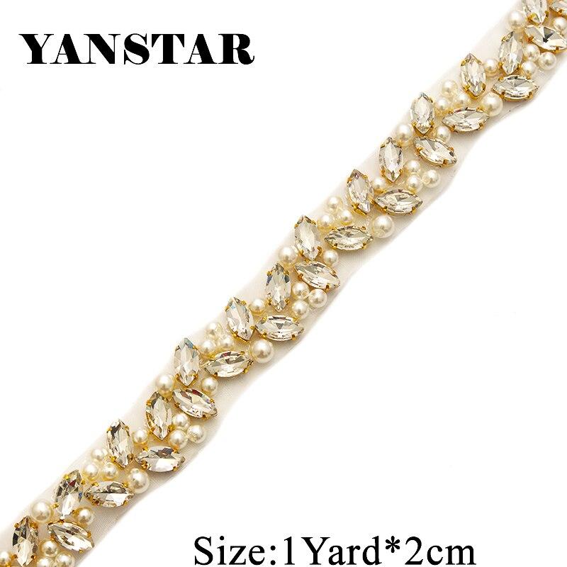YANSTAR Großhandel Braut Perlen Hochzeit Kleid Gürtel Strass Appliques Trim Auf 10 Yards * 2 cm Für Braut Schärpe Gold kristall YS879