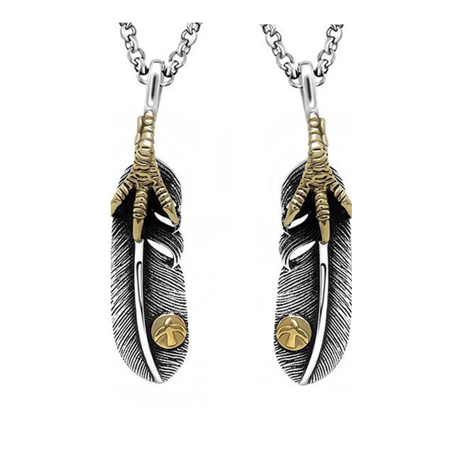 2016 de cobre garra del águila colgante con incrustaciones de joyería de acero titanium de la pluma para las mujeres y de los hombres colgante de san valentín regalo del día