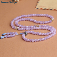 Wholesale Fine Lavender Purple Natural Crystal Bracelets 108 Round Beads With Tibetan Silver Lotus Bracelets Lady Gift Jewelry