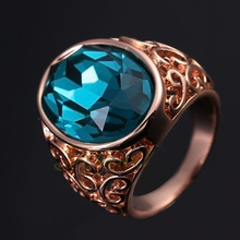 Luxury Gold-color Crystal Stone Ring for Men