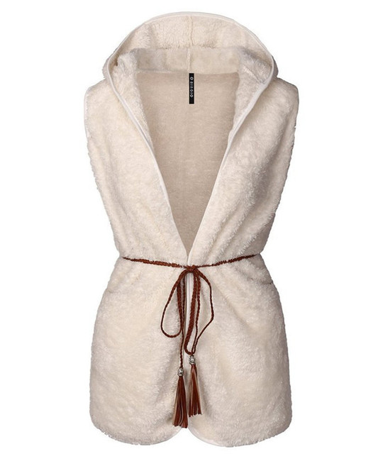2016 New Fashion Autumn Winter Women Wool Cotton Vest Solid Belt Warm Coat Casual No Sleeve Ladies Tops 2 Colors Plus Size S-2XL