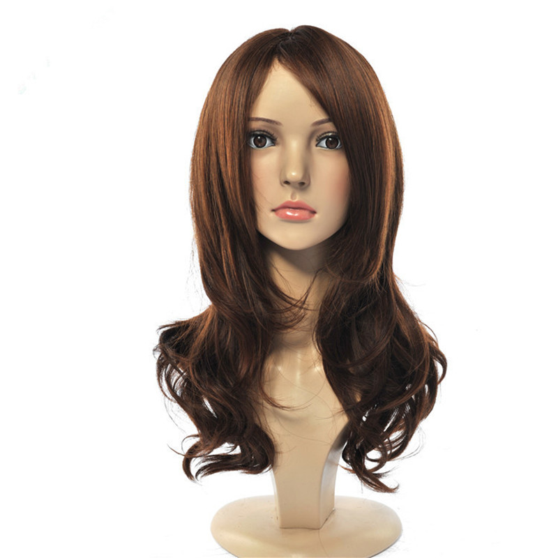 Soloowigs Natural Wave Dark Brown Long Women Wig High Temperature Fiber Full Lace Hairpieces Side Parting parrucca