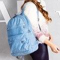Fashion design blue jeans women backpack bag school women-bag laptop backpack travel book female denim backpack mochila escolar