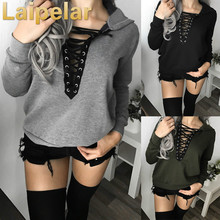 Autumn Women Casual Lace Up Hoodies Sweatshirts Hooded Outwear Ladies Jumper Pullover Tops Casual Lace Up Sweatshirt plus lace up jumper