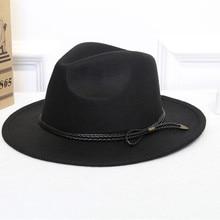 Шляпы Fedora, шерстяные, теплые и удобные, регулируемые, большие размеры, 60 см, шапки унисекс, модные, трендовые, твердые крышки, Классическая Шапка-котелок для женщин