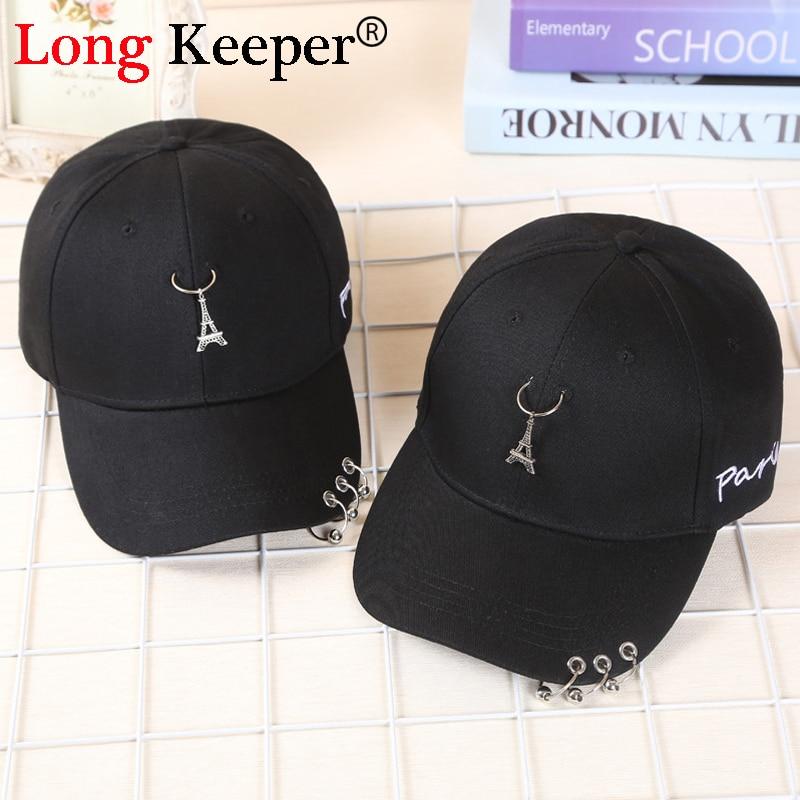Long Keeper Romantic Paris Eiffel Tower Men Women Cap Punk Rivets Ring Hats embroidery letters Baseball Hat Suitable Casual Cap