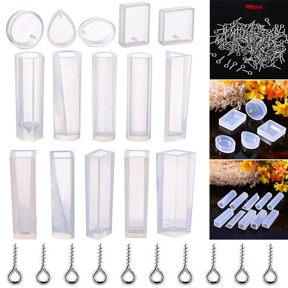15pcs/set Resin Jewelry Making Craft Mould Epoxy Crystal Earrings Necklace Silicone Mold Geometric  Pendant DIY Handmade Tool