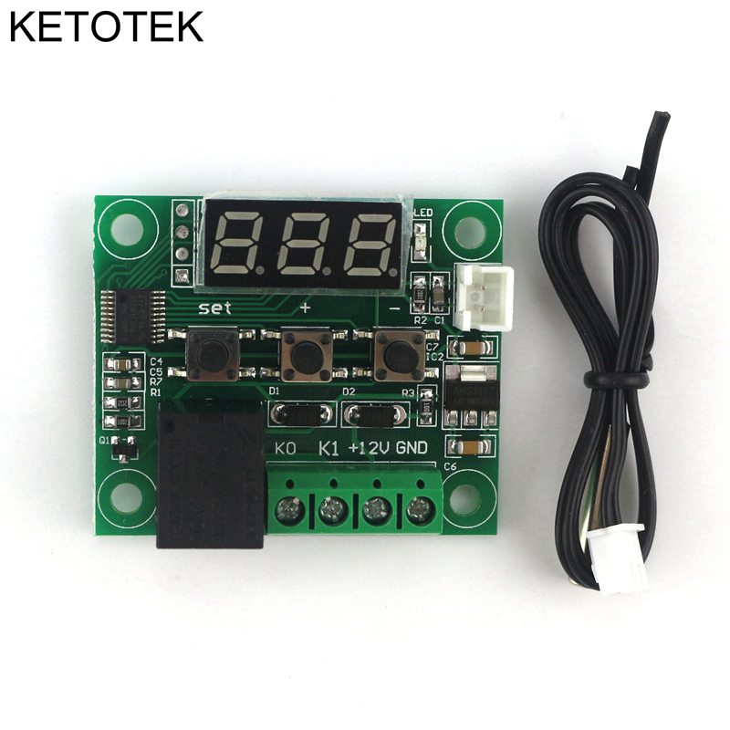 DC 12V Digital heat cool temp thermostat switch temperature controller Miniature temperature control switch panel dc 12v digital heat cool temp thermostat switch temperature  at n-0.co
