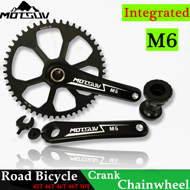 ФОТО Integrated Road Bicycle Crank&Chainwheel Suits all in one alloy Narrow Wide 42T 44T 46T 48T 50T Hollow Road bike Chainwheel Suit