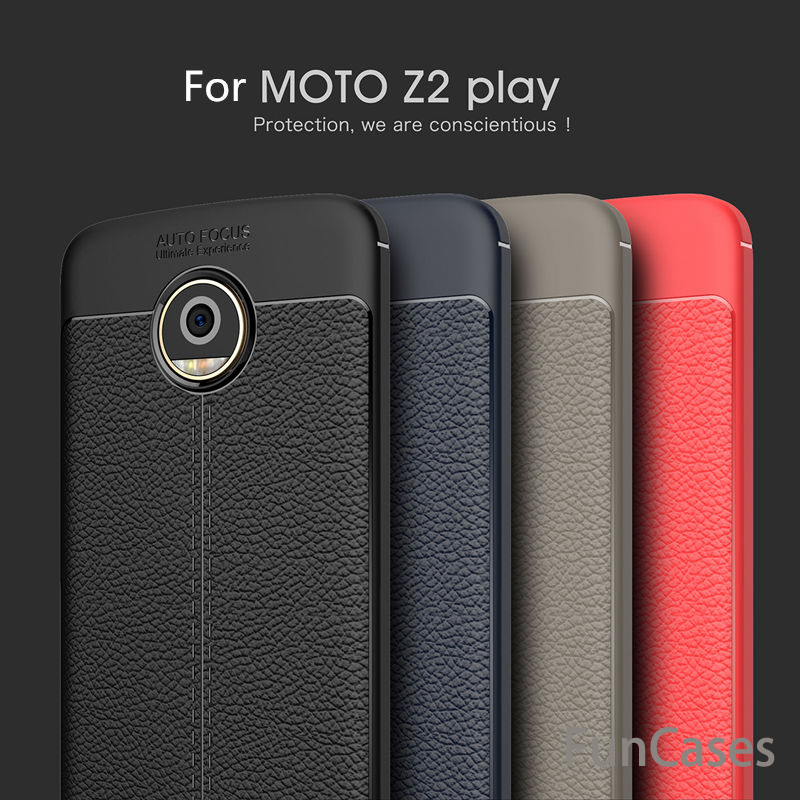 For Motorola MOTO Z2 Play Case Cover Litchi Grained Luxury Soft Shockproof Protective TPU Silicone Back Cover For MOTO Z2 Play