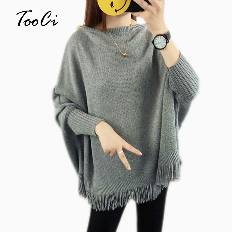 New Spring Gray Pullovers And Sweaters Loose Tassel Soft Shawl Poncho Women Slash Neck Bat Long Sleeve Pullover Sweater Shawl