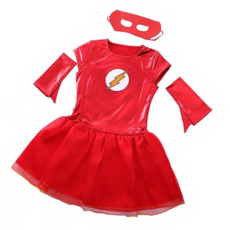 Comics The Flash Superhero Fancy Dress Girls Child Superhero Costume