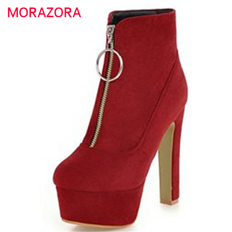 MORAZORA 2018 new fashion platform shoes woman zip ankle boots for women solid colors autumn winter boots sexy high heels boots mcckle 2017 ladies fashion sexy autumn winter ankle boots female slip on zip black solid platform high heels plus size34 43