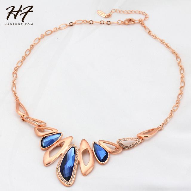 Calidad superior de Lujo Azul de Cristal Colgante Chapado En Oro de Joyería Del Partido Del Collar de Cristal Austriaco Al Por Mayor N571 N572