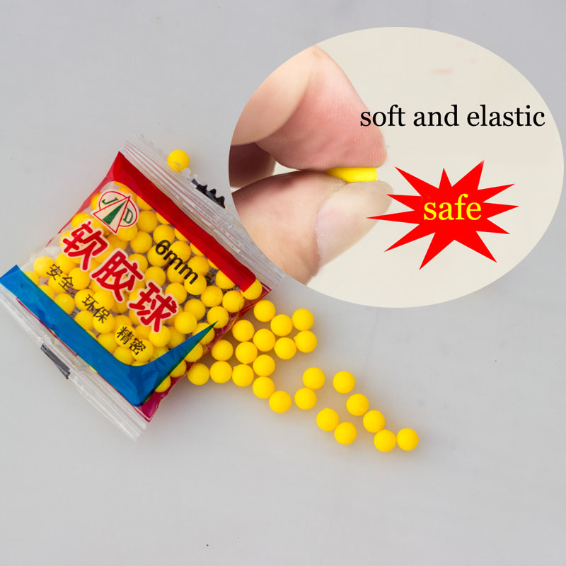 6mm Soft Rubber Ball Bullet Safe Shoot Gun Accessories 70-80pcs Outdoor Toys For Children 5/10 Bags