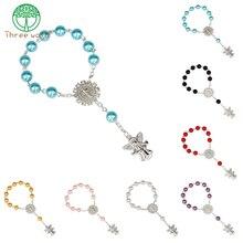 10 шт имитация жемчуг католические четки католической Святое Причастие Крылья ангела Подвески-кресты браслет хороший подарок