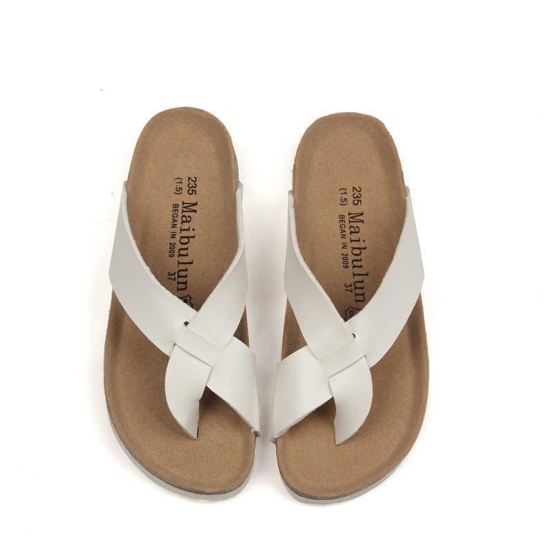 Стринги Modis; шлепанцы на плоской подошве из натуральной кожи; шлепанцы-сандалии; женские пляжные сандалии на платформе с пробковой подошвой в Корейском стиле; Babouche