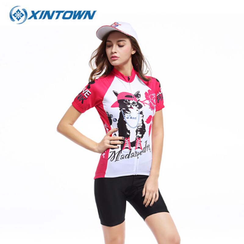 ФОТО Persian Cat Bike Short Sleeve Team Women Pink Cycling Jersey Tops/Short Sleeve Bike Clothing Summer Cycling Jersey
