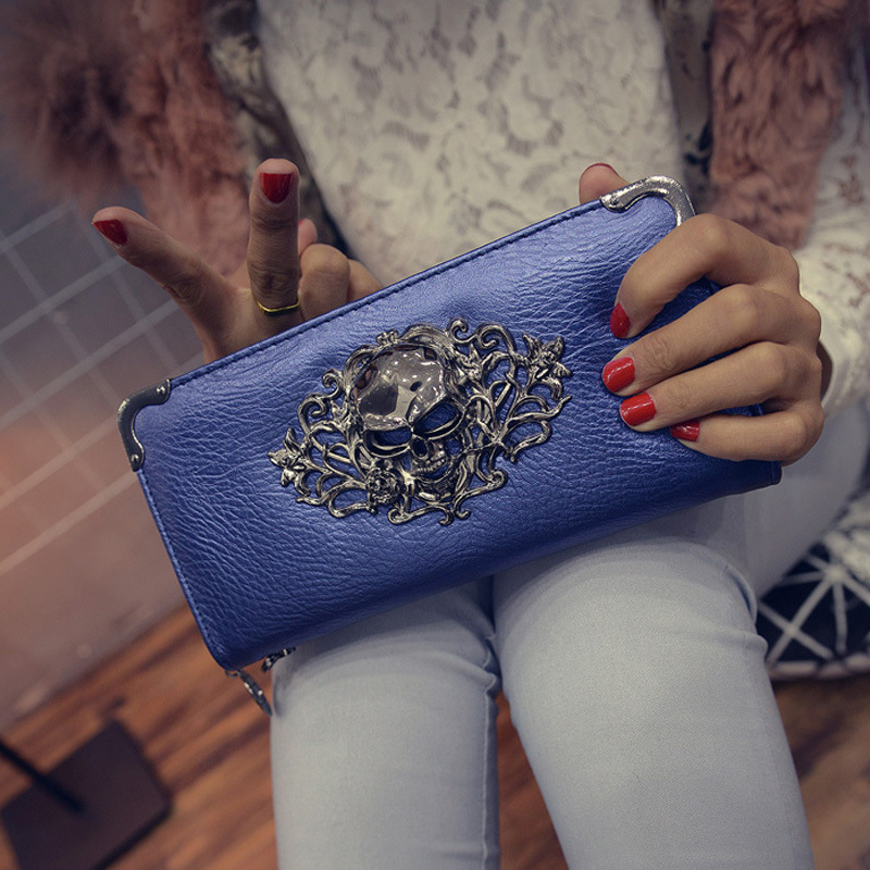 New Fashion  High Quality  Lovely PU Leather Women Wallets With Coin Purses Lady Card&ID Holders Money Bags  STskulls Blue 2017 black pu leather wallet women stone grain wallets brand long design fashion coin purses for women with high quality qd018