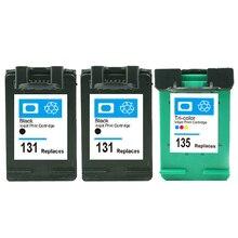 3Pcs For HP 131 135 Ink Cartridge for Deskjet 460 5743 5940 5943 6843 6940 Photosmart 2573 2613 PSC 1600 1613 2350 2353 2355